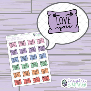 Love You Eyelashes Pillow ~ Hand Drawn Love Doodle ~ Petite Collection ~ Planner Stickers