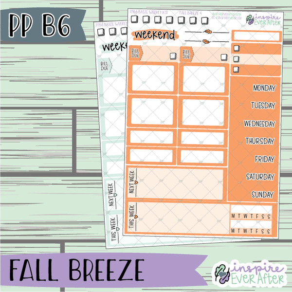 Fall Breeze Collection PPB6 Basic Weekly Kit ~ Choose Your Colorway! ~ Hand Drawn Seasonal Functional Planner Stickers