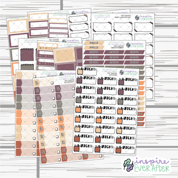 Fall Sweater ~ Fall Seasonal Functional Collection ~ Planner Stickers