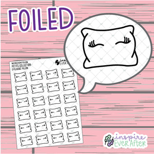 Eyelashes Pillow ~ FOIL Hand Drawn Sleep Doodles ~ Petite Collection ~ Planner Stickers