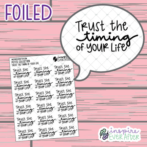 Trust the Timing of Your Life ~ FOIL Hand Drawn Positive Affirmations ~ Petite Collection ~ Planner Stickers