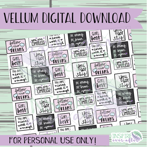 Girl Boss Flow Vellum ~ Digital Download ~ Hand Drawn Digitals