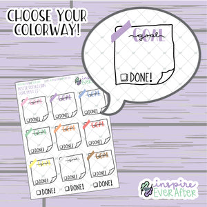 Goal Washi Post it Note ~ Choose Your Color Way ~ Hand Drawn Goal Boxes ~ Planner Stickers
