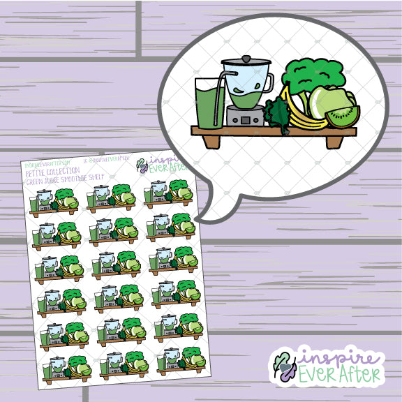 Green Juice Smoothie Shelf ~ Hand Drawn Foodie Shelf ~ Petite Collection ~ Planner Stickers