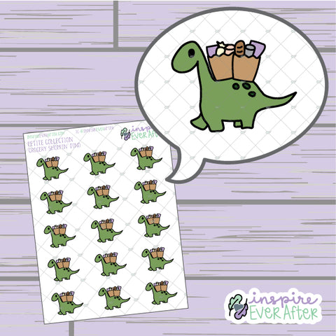 Grocery Shoppin' Dino ~ Hand Drawn Animal Doodles ~ Petite Collection ~ Planner Stickers
