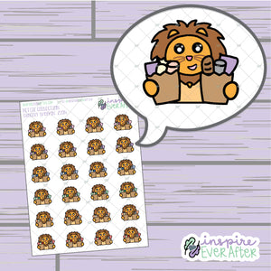 Grocery Shoppin' Zion the Lion ~ Hand Drawn Foodie Character ~ Petite Collection ~ Planner Stickers
