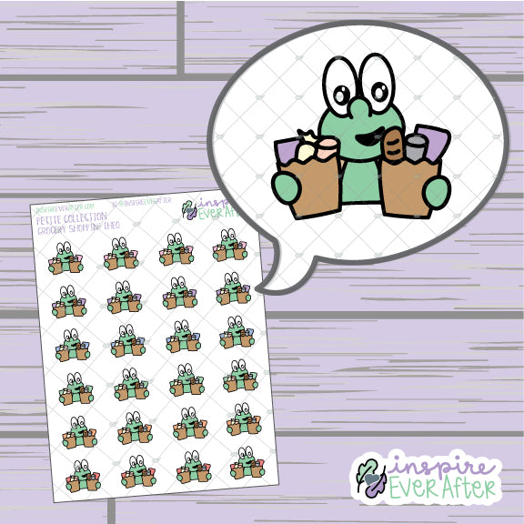Theo The Turtle Grocery Shoppin' ~ Hand Drawn Errand Character ~ Petite Collection ~ Planner Stickers