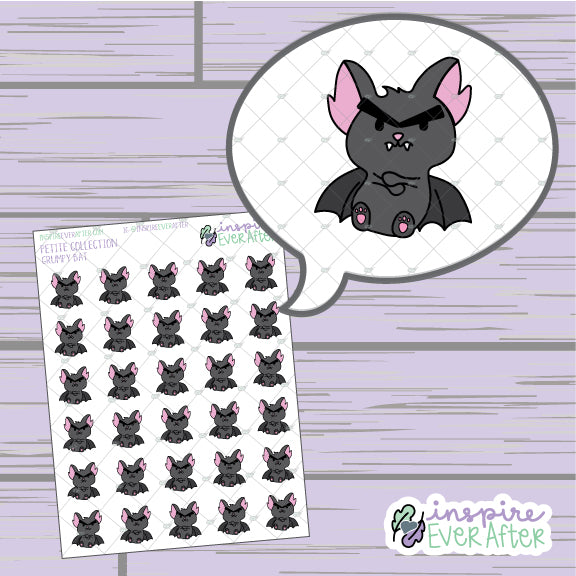 Grumpy Bat ~ Hand Drawn Sassy Animal Doodle ~ Petite Collection ~ Planner Stickers