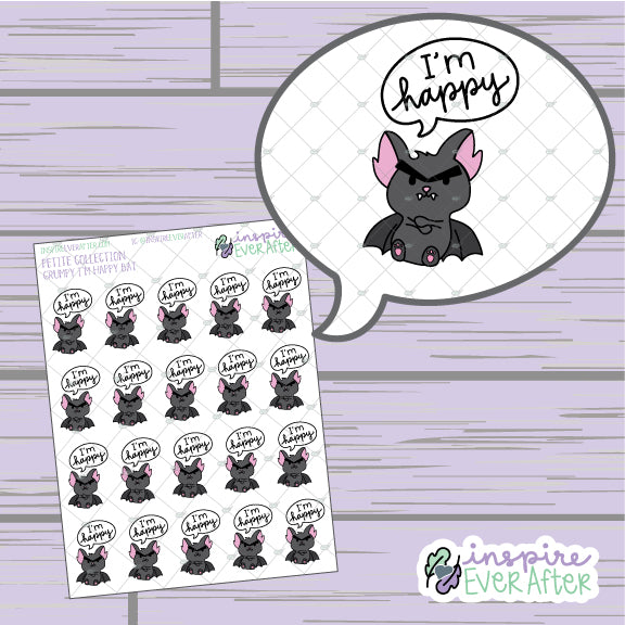 "Grumpy ""I'm Happy"" Bat ~ Hand Drawn Sassy Animal Doodle ~ Petite Collection ~ Planner Stickers"