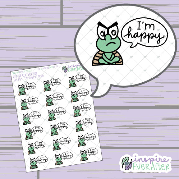 "Grumpy ""I'm Happy"" Theo the Turtle ~ Hand Drawn Sassy Character ~ Petite Collection ~ Planner Stickers"