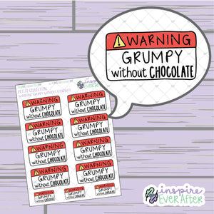 Warning: Grumpy Without Chocolate ~ Hand Drawn Sassy Foodie Icons ~ Petite Collection ~ Planner Stickers