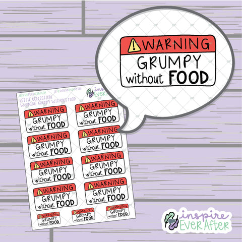 Warning: Grumpy Without Food ~ Hand Drawn Sassy Foodie Icons ~ Petite Collection ~ Planner Stickers