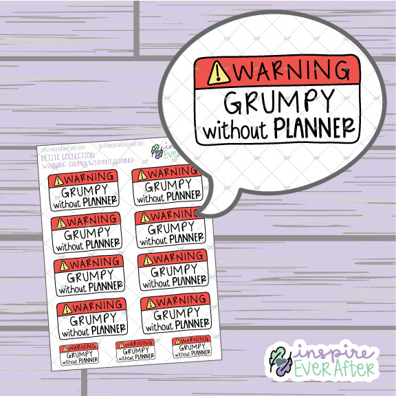 Warning: Grumpy Without Planner ~ Hand Drawn Sassy Icons ~ Petite Collection ~ Planner Stickers