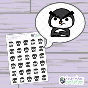 Grumpy Penguin ~ Hand Drawn Sassy Animal Doodle ~ Petite Collection ~ Planner Stickers