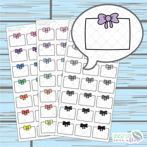 Wide Bow Box Doodle ~ Pastel, Bright OR Neutral ~ Hand Drawn Hobonichi Functionals ~ Planner Stickers