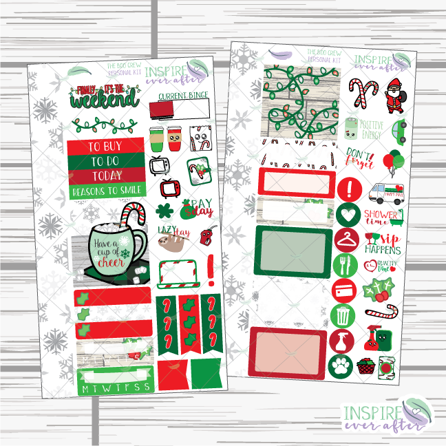 Holly Jolly Hand Drawn Personal Size Weekly Kit ~ Planner Stickers