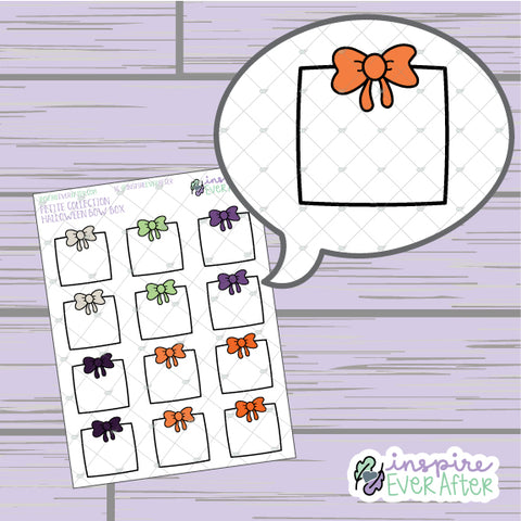 Halloween Bow Box ~ Hand Drawn Holiday Seasonal Functional ~ Petite Collection ~ Planner Stickers