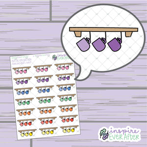 Hanging Mug Shelf ~ Hand Drawn Beverage Doodle ~ Petite Collection ~ Planner Stickers