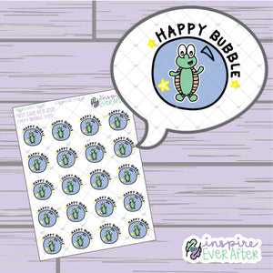 Theo the Turtle Happy Bubble ~ Hand Drawn Positive Affirmation Character Doodle ~ Petite Collection ~ Planner Stickers
