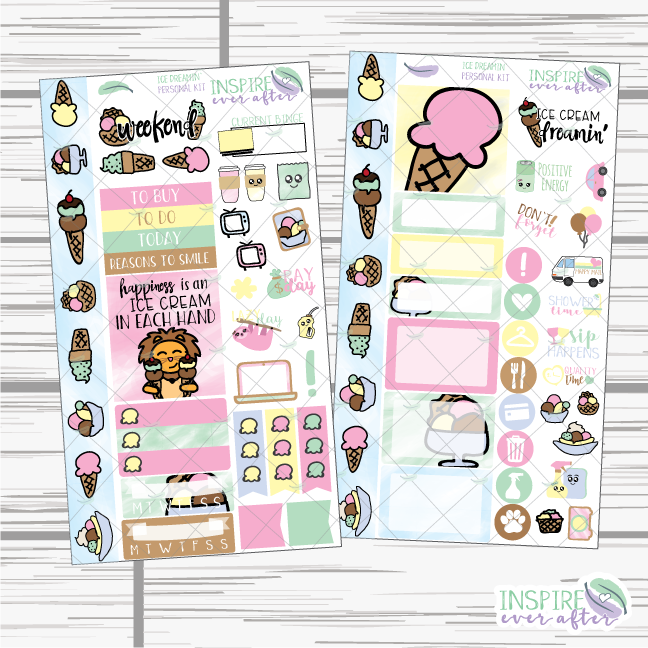 Ice Dreamin' Hand Drawn Personal Size Weekly Kit ~ Planner Stickers