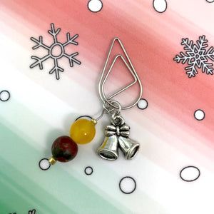Jingle Bells Dangle Clip ~ Inspireology Charms ~ Handmade Holiday Planner Accessories