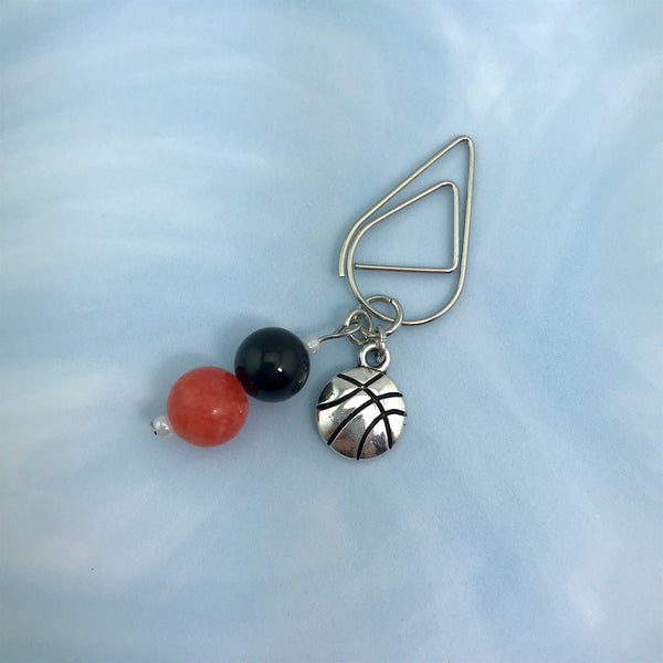 Basketball Love Dangle Clip ~ Inspireology Charms ~ Handmade Sports Planner Accessories