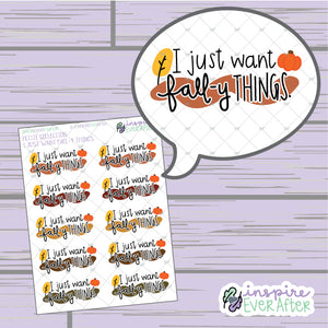 I Just Want Fall-y Things. ~ Hand Drawn Seasonal Fall Doodle ~ Petite Collection ~ Planner Stickers