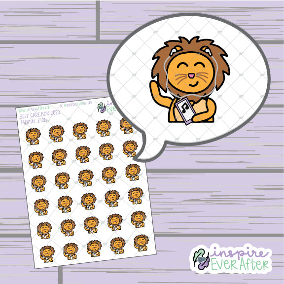 Zion the Lion Jammin' ~ Hand Drawn Self-Care Character Doodle ~ Petite Collection ~ Planner Stickers