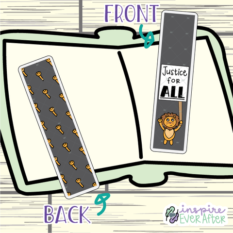 Justice for ALL Bookmark ~ Hand Drawn Positive Affirmation Inspired Bookmarks ~ Planner & Book Accessories