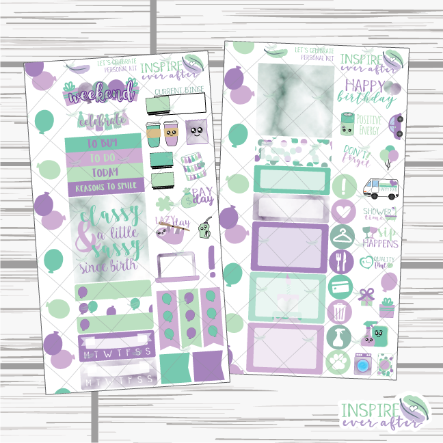 Let's Celebrate Personal Size Weekly Kit ~ Planner Stickers