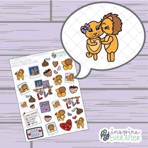 Lioness Essentials Deco ~ Hand Drawn Couple Decor Petite Collection ~ Planner Stickers