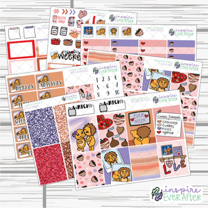 Lioness Essentials Weekly Kit ~ Hand Drawn Character Stickers ~ Planner Stickers