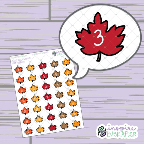 Fall Leaf Numbers/ Date Covers/ Countdown ~ Hand Drawn Petite Collection ~ Planner Stickers