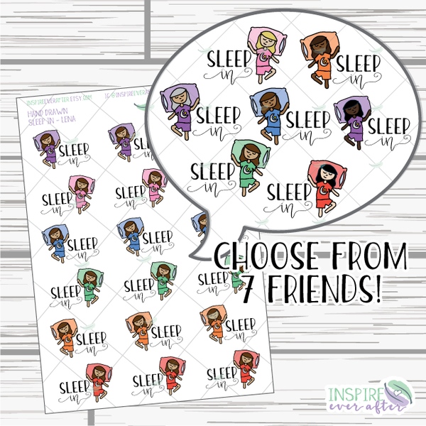Lena & Friends Sleep In ~ Hand Drawn Characters ~ Planner Stickers