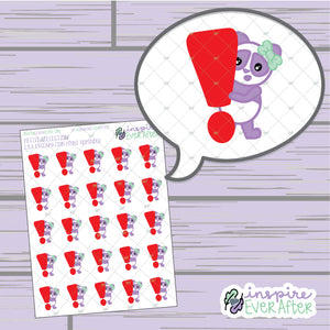 Lila Exclamation Point Reminder ~ Hand Drawn Important Reminder Character ~ Petite Collection ~ Planner Stickers