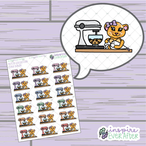 Luna the Lioness Bakin' ~ Hand Drawn Dessert Character Doodle ~ Petite Collection ~ Planner Stickers