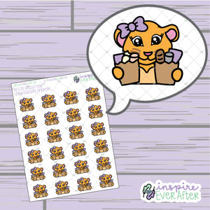 Luna the Lioness Grocery Shoppin' ~ Hand Drawn Shopping Character Doodle ~ Petite Collection ~ Planner Stickers