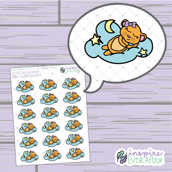 Luna the Lion Sweet Dreams ~ Hand Drawn Sleeping Character Doodle ~ Petite Collection ~ Planner Stickers
