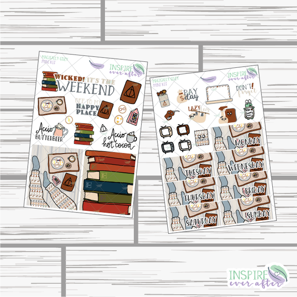 Magically Cozy Mini Weekly Kit ~ Hand Drawn Planner Stickers