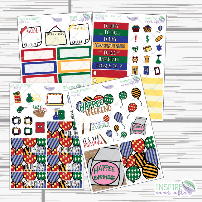 Magical Birthday Mini Weekly Kit ~ Planner Stickers