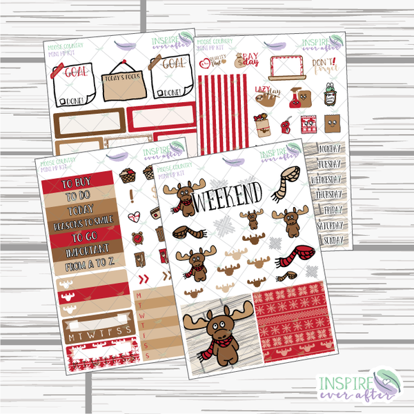 Moose Country Mini Happy Planner Weekly Kit ~ Planner Stickers