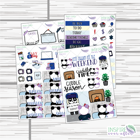 Merry Panda Mini Weekly Kit ~ Hand Drawn Planner Stickers