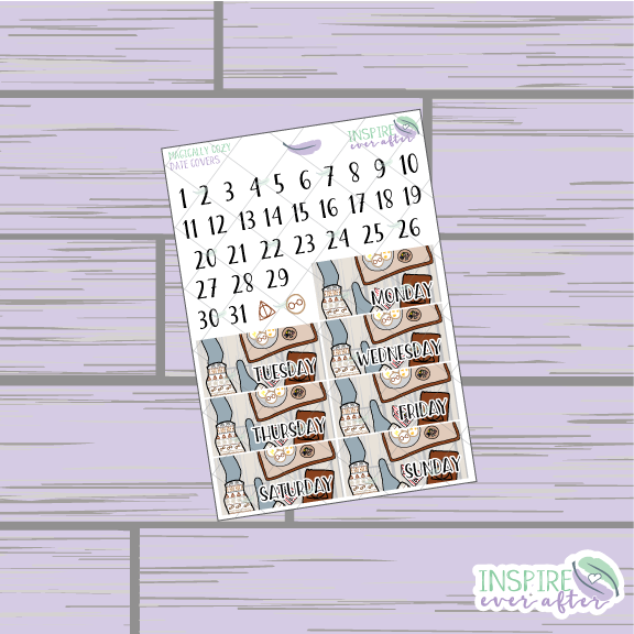 Magically Cozy Date Covers ~ Hand Drawn Planner Stickers