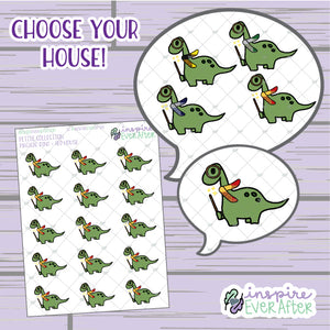 Magical Dino ~ Choose Your House! ~ Hand Drawn Magical Animal ~ Petite Collection ~ Planner Stickers