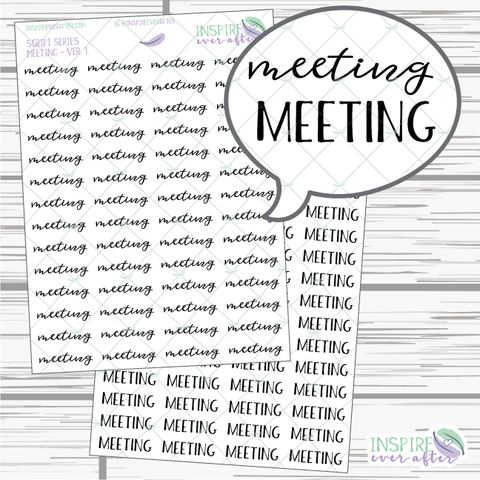 Meeting ~ Script OR Print ~ Script Series ~ Planner Stickers