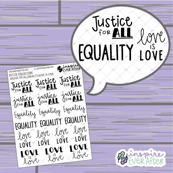 Mixed Quotes Sheet: Justice For ALL, Equality, & Love is Love ~ Hand Drawn Positive Affirmation Petite Collection ~ Planner Stickers