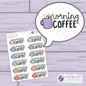 Morning Coffee ~ Hand Drawn Beverage Doodle ~ Petite Collection ~ Planner Stickers