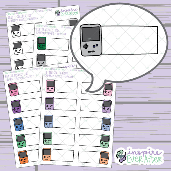 Handheld Games Boxes ~ Classic, Pastel, Bright OR Neutral ~ Hand Drawn 90s Things Petite Collection ~ Planner Stickers