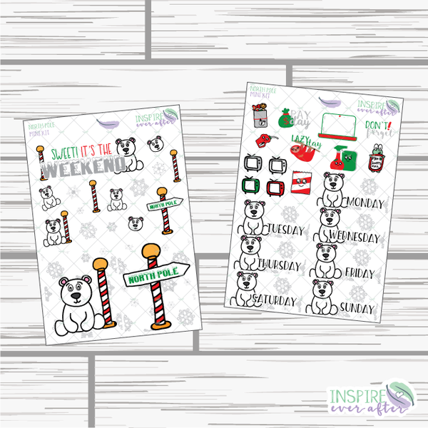 North Pole Mini Weekly Kit ~ Hand Drawn Planner Stickers