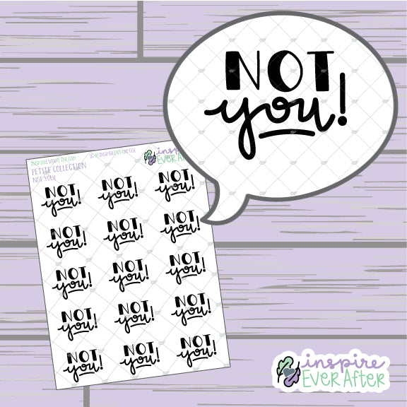Not You! ~ HandLettered Scripts ~ Petite Collection ~ Planner Stickers